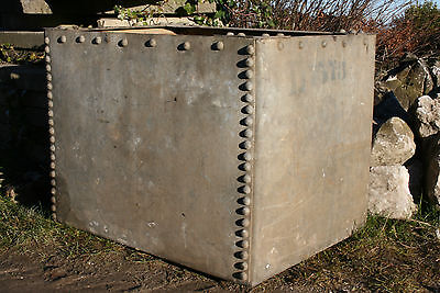 Galvanised Planter Trough Water Tank Studded Old Vintage