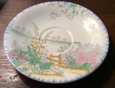 RARE ART DECO RANLEIGH COTTAGE GARDEN #1732 CHINA HAND-PAINTED TRIO c.1930's EX
