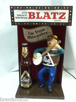Blatz beer sign lighted marquee bar statue barrel banjo guy man stage light XS5