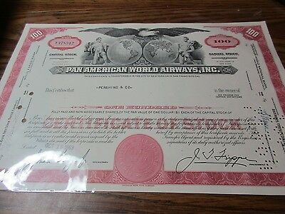 Vintage Stock Certificates - 1963 Pan American World Airways, Inc.