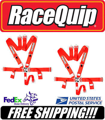 Pair (2) RaceQuip SFI 5pt RED Latch & Link Racing Safety Harnesses #711011