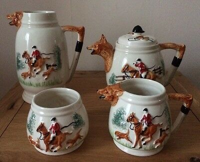 Vintage Set By Portland Potteries Cobridge Depicting The Hunt. Foxes Dogs Horses