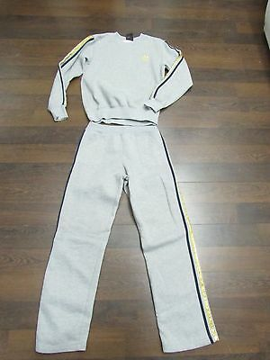SEXY Vtg Adidas GRAY Blue GOLD Sweat Track Suit JumpSuit S M pants shirt top