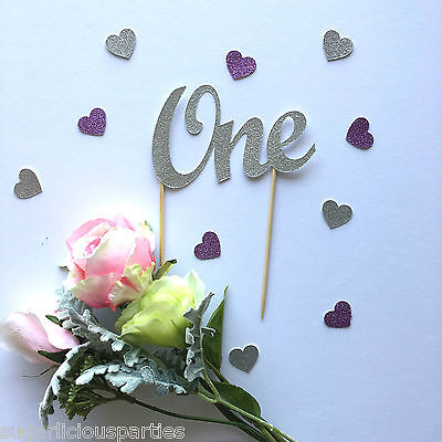 'One' Silver Glitter Cake Topper, Baby Shower Party Cake Decoration Script Font