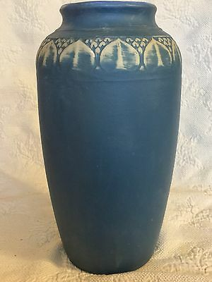 Antique Art Deco Monmouth Pottery Vase, Matte Blue/Teal, Late 1800s-Early 1900s