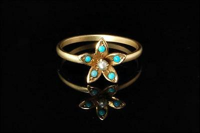 Antique Early Victorian Turquoise Seed Pearl 14K Gold Flower Ring (102416038)