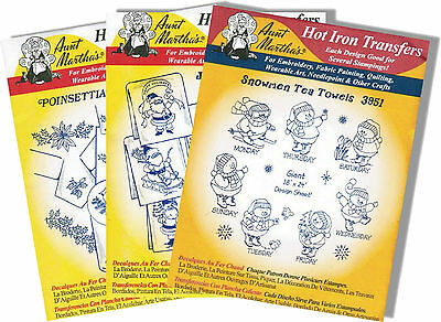 Set of 3 Christmas Motif Transfer Packages Aunt Martha's Embroidery Transfers