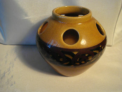 BRIXHAM POTTERY VASE.  Amber & Brown. Height 3.5 inches.