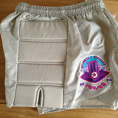 "Shiny Nylon Retro shorts silver with padded sides 26/28""  Reusch"