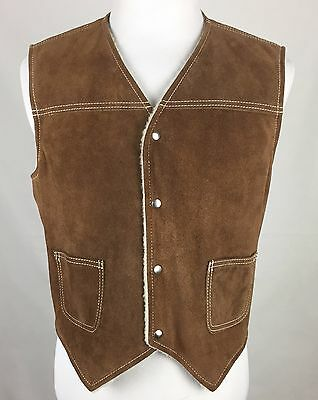 Vintage 70' Sears The Leather Shop Brown Snap Button Sherpa Lined Suede Vest XL