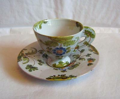 Vintage Cantagalli  Majolica / Faience Cup & Saucer Painted with Flower Sprays