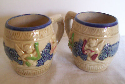 Pair of Vintage Stoneware Pottery Mugs by A1 from Japan Decorated with Cherubs