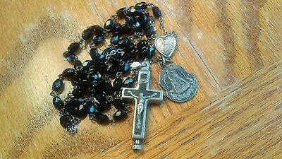 Antique German Sterling Silver St. Anges Wax Reliquary Cross Heart Medals Rosary
