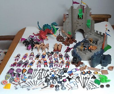 Playmobil Huge Bundle Knights Fortress 19 figures Dragon Nessie Catapult Weapons