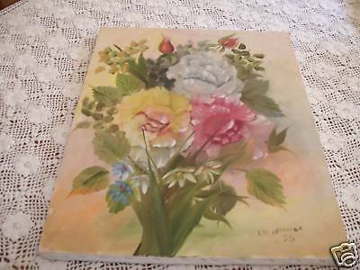 Shabby roses pink Oil Painting Original Signed ooak Vintage Country Cottage