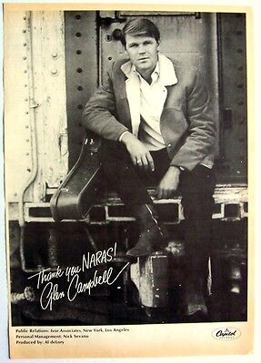 GLEN CAMPBELL 1968 Poster Ad BY THE TIME I GET TO PHOENIX grammy
