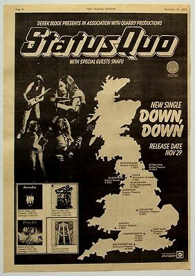 STATUS QUO 1974 Poster Ad UK CONCERT TOUR down, down