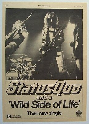 STATUS QUO 1976 Poster Ad WILD SIDE OF LIFE