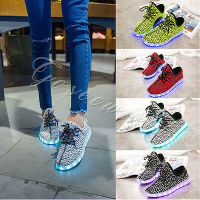 Unisex 7 LED Light Lace Up Luminous Shoes Sneaker Sportswear USB Rechargeable