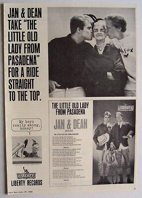 JAN & DEAN 1964 Poster Ad THE LITTLE OLD LADY FROM PASADENA