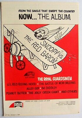 THE ROYAL GUARDSMEN 1967 Poster Ad SNOOPY VS. THE RED BARON