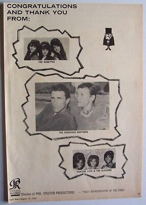 THE RONETTES RIGHTEOUS BROTHERS 1965 Poster Ad A PHIL SPECTOR PHILLES RECORDS
