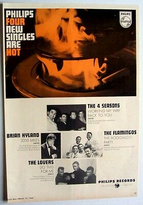 THE 4 FOUR SEASONS FLAMINGOS LOVERS 1966 Poster Ad VINYL COOKING philips records