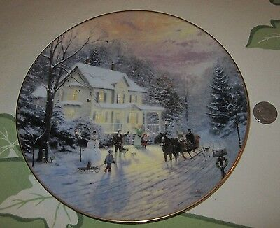 Sleighride Home numbered plate Thomas Kinkad Home For the Holidays mint papers