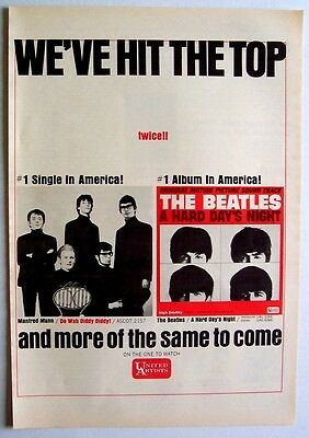 THE BEATLES & MANFRED MANN 1964 Poster Ad A HARD DAY'S NIGHT do wah diddy diddy