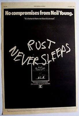 NEIL YOUNG 1979 Poster Ad RUST NEVER SLEEPS