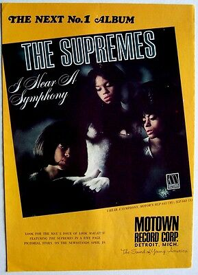 THE SUPREMES 1966 Poster Ad I HEAR A SYMPHONY motown