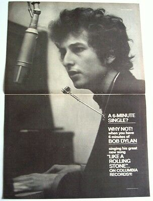 BOB DYLAN 1965 Poster Ad LIKE A ROLLING STONE highway 61 revisited