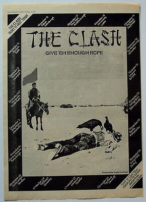 THE CLASH 1978 Poster Ad GIVE 'EM ENOUGH ROPE sort it out tour
