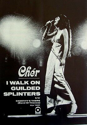 CHER 1969 Poster Ad I WALK ON GUILDED SPLINTERS chastity's theme