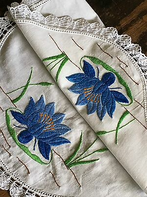Magnificent Vintage Hand Embroidered Tray Cloth Corn Blue Water Lily's