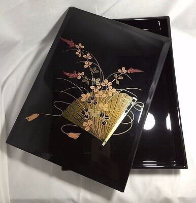 Japanese Makie and URUSHI Lacquered-Wooden-Box Fumibako from JPN Ninjya ZEN 2