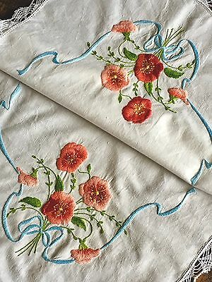 Magnificent Vintage Hand Embroidered Tray Cloth LARGE Pansies Blue Bows Crochet