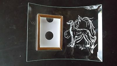 Saluki- Beautifully hand engraved Curved Photo frame by Ingrid Jonsson