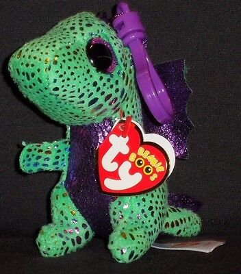 TY BEANIE BOOS - CINDER the DRAGON KEY CLIP - MINT with MINT TAGS