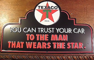 Vintage Style  Official  Texaco  Embossed Metal Sign  You Can Trust You Car Gas