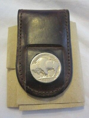 Vintage - Leather with inlaid silver US Buffalo Five Cent - Magnetic Money Clip