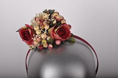 NEW Berry and Rose Floral Fascinator Headband