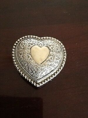 Silver Plate Heart Shaped Hearts And Roses Blue Velvet Lined Trinket Box