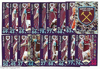2016 / 2017 EPL Match Attax WEST HAM UNITED (19 Card Set)