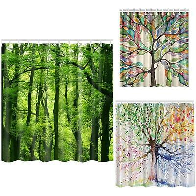 1X Waterproof Fabric Bathroom Shower Curtain With 12 Hooks Colorful Tree Pattern