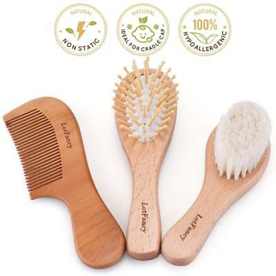 Baby Infant Toddler Hair Soft Brush Comb Set Safe Bristle Cradle Scalp Massage