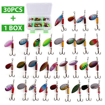 30 PCS Metal Fishing Lures Spinner Bait Attractant Hook with Tackle Storage Box