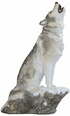 9 Inch Wolf Howling in Snow Nature Wildlife Animal Statue Collectible Wild
