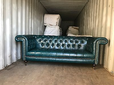 CHESTERFIELD SOFA GENUINE LEATHER             Antique Blue 3+2 Seater