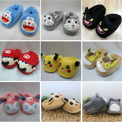 Adult Cartoon Slipper Cosplay Pikachu Totoro Iron Man Soft Plush Cotton Shoes